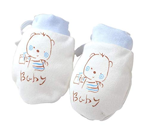 Nurture Links - Soft Stay On Scratch Baby Mittens - Stop Scratches and Germs, 2 Pack (Blue, Yellow)