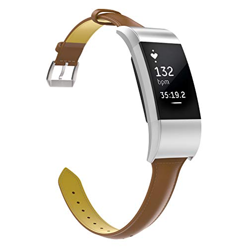 MoKo Fitbit Charge 2 Band, Premium Genuine Leather Replacement Strap + Connector Fit Fitbit Charge 2 Heart Rate + Fitness Wristband - Brown