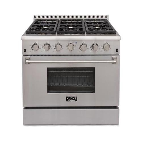 Kucht KRG3618U Professional 36″ 5.2 cu. ft. Natural Gas Range with Sealed Burners and Convection Oven, Stainless-Steel