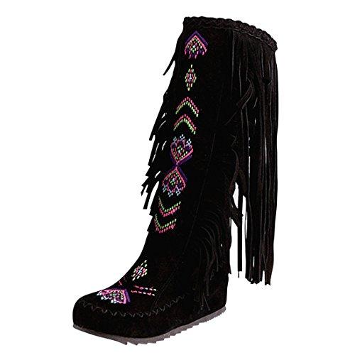 YE Damen Keilabsatz Bestickte Stiefel Plateau mit Fransen Herbst Winter Fashion Height Increasing innerhalb der erhöhte Bequem Schuhe Schwarz