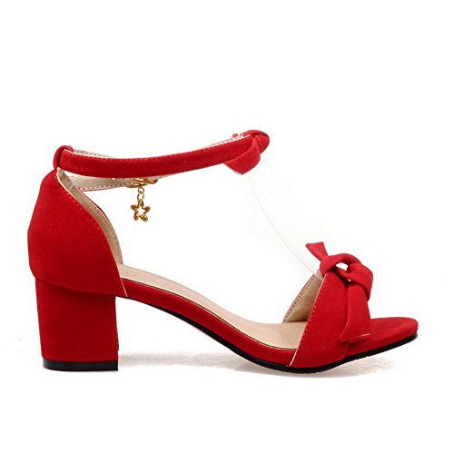 AllhqFashion Womens Frosted Open Toe Kitten-Heels Buckle Solid Sandals Red WqQbWDODO