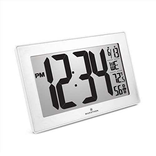 Marathon New Introductory Price CL030068WH-SS Atomic Self-Setting Self-Adjusting Wall Clock w/Stand & 8 timezones - Batteries Included (White Frame/Stainless Steel Finish Slim Bezel)