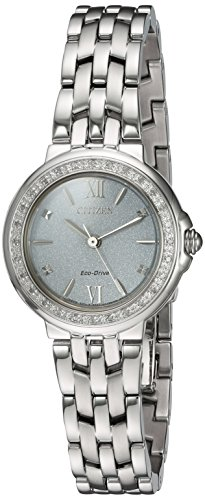 Citizen Women's 'Diamond' Quartz Stainless Steel Casual Watch, Color:Silver-Toned (Model: EM0440-57A)