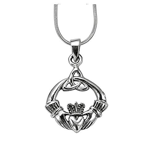 925 Sterling Silver Claddagh Celtic Trinity Knot Pendant on Alloy Necklace Chain, 16 inches
