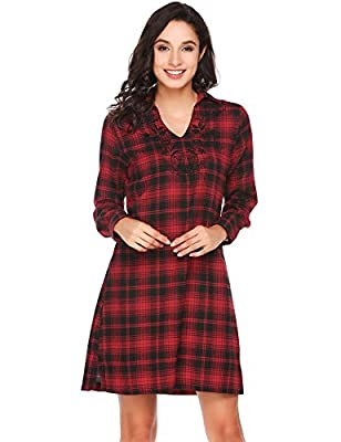 BEAUTYTALK Women's long sleeve v neck Plaid embroidered casual shirt dresses