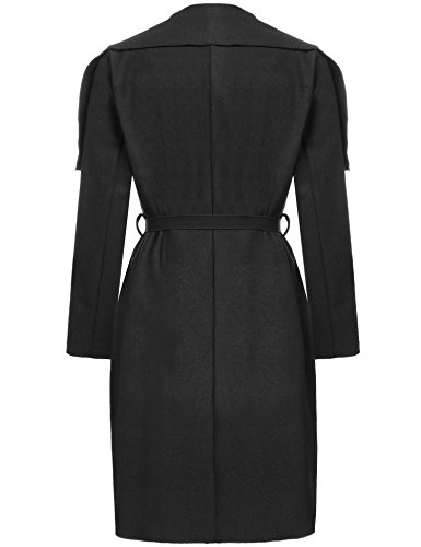 Meaneor Women's Drape Open Front Waterfall Belted Wrap Coat Jacket,Black/XL