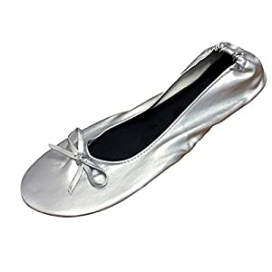 Women's Ballet Flats - Foldable Flats WITH EXPANDABLE TOTE BAG - Great for Weddings Brides Bridal Parties, Bridesmaid Shoes, Expandable Tote Bag for Carrying High Heels -Fancy Flat SILVER shoes - Best PORTABLE Travel SHOES fold up ballet shoes (Medium = 7 up to 8)