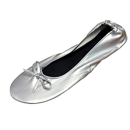 Women's Ballet Flats - Foldable Flats WITH EXPANDABLE TOTE BAG - Great for Weddings Brides Bridal Parties, Bridesmaid Shoes, Expandable Tote Bag for Carrying High Heels -Fancy Flat SILVER shoes - Fancy Lady Flat Shoes