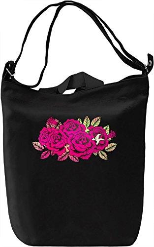 Pink Roses Borsa Giornaliera Canvas Canvas Day Bag| 100% Premium Cotton Canvas| DTG Printing|