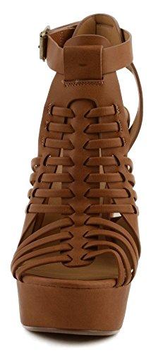 Délicieuse Liberté Haute Plate-forme Sandale Talon Empilée Avec Bracelet Tan