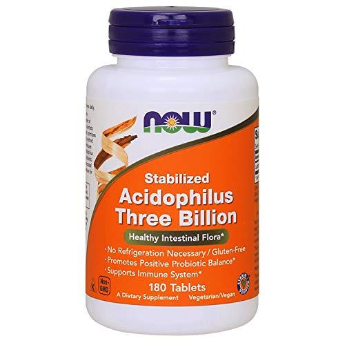 - NOW Supplements, Stabilized Acidophilus Three Billion,Strain Verified, No Refrigeration Necessary, 180 Tablets