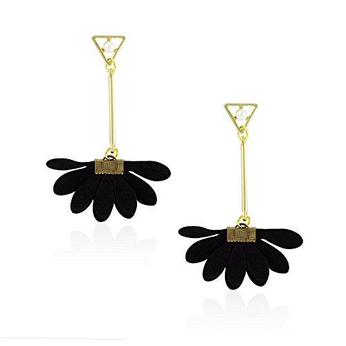 New Gold Tone Elegant Bohemian Fan Shape Black Fabric Sunflower Dangle Stud Ethnic Earrings Jewelry