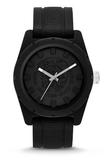 Diesel DZ1591 Rubber Company Black Analog Brave Logo Text Silicone Men Watch NEW