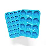 Silicone Mini Muffin Pans Mold for Cupcakes Baking, Non Stick Tray Bakeware Dishwasher and Microwave Safe,Set of 2 - Large (12) and Mini (24)