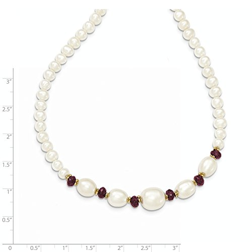 ICE CARATS 14k Yellow Gold Freshwater Cultured Pearl Faceted Red Garnet Bead Chain Necklace Fine Jewelry Gift Set For Women Heart by ICE CARATS (Image #5)