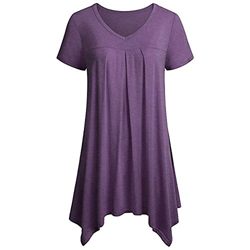 Londony✚‿✚ Women Casual T Shirt V-Neck Tunic Tops for Leggings Purple