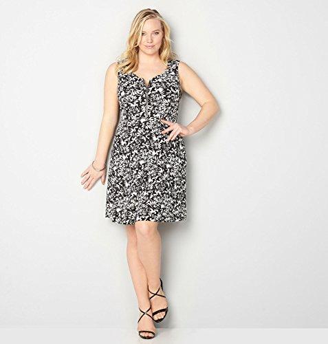 AVENUE-Womens-Floral-Zip-Skater-Dress