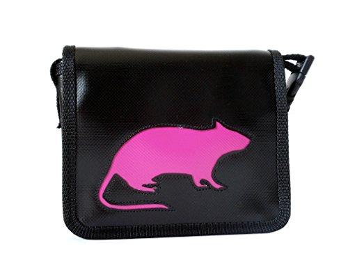Goellerbags kleine Umhängetasche Tiere Ratte Pink/ Schwarz H 13 B 16 T4