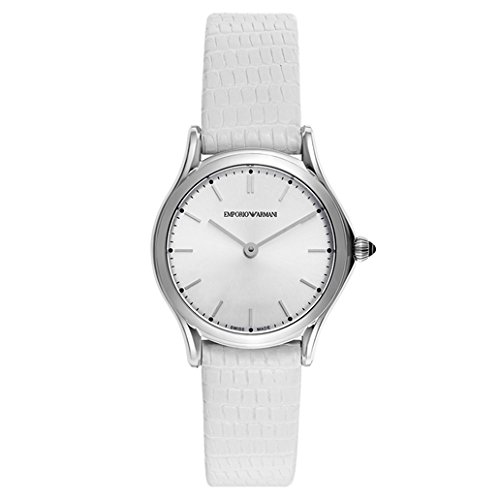 Emporio Armani Swiss Made Women's Quartz Stainless Steel and Leather Dress Watch, Color:White (Model: ARS7004)