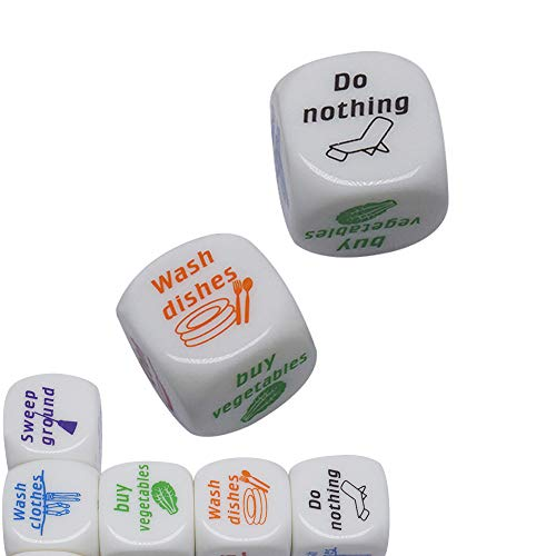 BoBoLing 2Pcs Novelty Home Dice Couples Families Housework Distribution Dice Fun Game Gift/Dice Game Housework Dice Role…