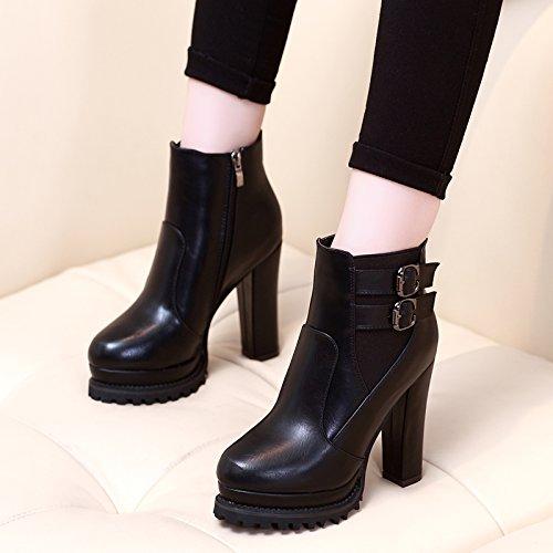 KHSKX-New Korean Todos Coinciden Con Gruesas Botas De Tacón Alto Botas Impermeables Zapatos Botas Martin Corta Cabeza De CilindroTreinta Y OchoBlack