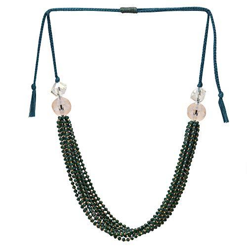 El Allure Preciosa Jablonex Seed Bead Dark Green and Silver Japanese Cut Dana Trendy Handmade Fine Necklace for Women. ()