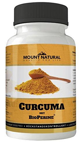Mount Natural laborgeprueftes Curcuma hochdosiert mit Curcumin und Bioperine Piperin, 90 vegane Kapseln