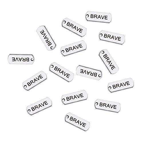 (20PCS Antique Silver Plated Rectangle Inspiration Words Charms Message Charm&Pendants Love/Brave/Hope/Dream Words Tag DIY Handmade Bracelet Necklace Making)