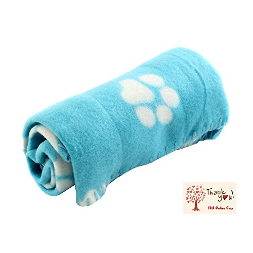 IDS Blue Soft Fleece Pet Dog Cat Puppy Kitten Warm Blanket Sleep Bed Mat with Paw Print