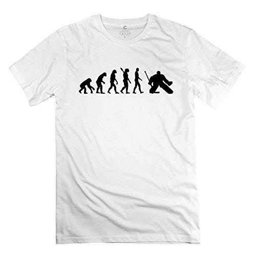 TGRJ Men's Tshirt - Vintage Evolution Hockey Goalie T-shirt White Size XXL