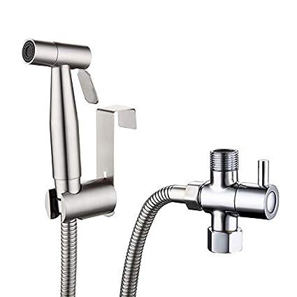 Kit per Bidet a Spruzzo in acciaio inox con della staffa T-valvola adattatore e portagomma da 1, 5 m Soffione doccia set Soffione doccia set (T-adapter) meihaoxiangsong
