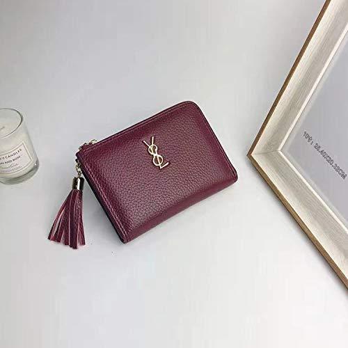 Burgundy YOIOY Envelope Clutch Bag Autumn New Mini Purse Female Zipper Ladies Short Korean Version of The Cute Handheld Wallet (color   Pink) (color   Pink)