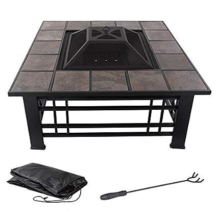Amazon.com: Cosmos eStore - Mesa cuadrada de acero para ...