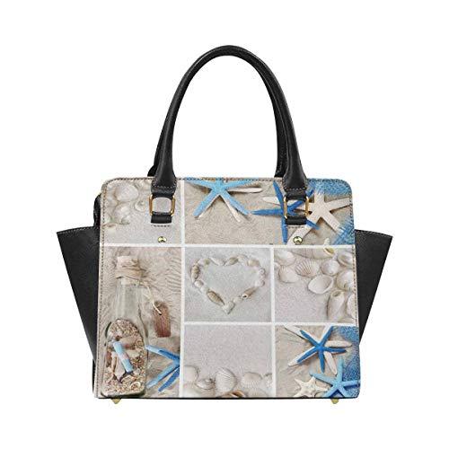 (InterestPrint Collage of Summer Seashells Women Top Handle Satchel Handbags Shoulder Tote Bag Purse)