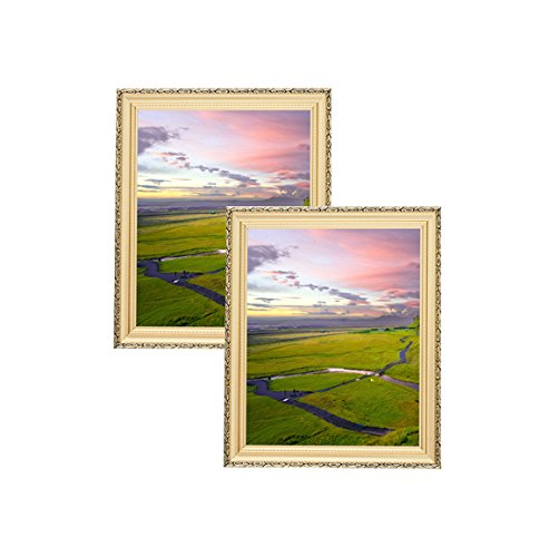 Unique Plated Beaded Border Gold Picture Frames (2 pc) Display with Photo Glass Front, Easel Back, Hanging Clip (Set of 2, 8x10)