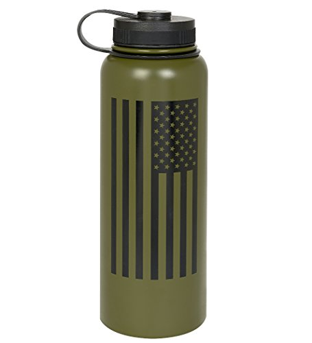 Fit For Freedom American Flag 40oz Double Wall Vacuum Insulated Stainless Steel Leak Proof Sports Water Bottle, Wide Mouth with BPA Free Flex Cap (Olive Green)