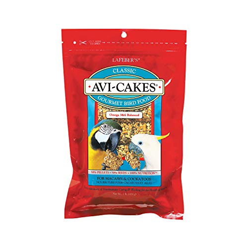 LAFEBER'S Classic Avi-Cakes Pet Bird Food, Made with Non-GMO and Human-Grade Ingredients, for Macaws & Cockatoos, 1 ()