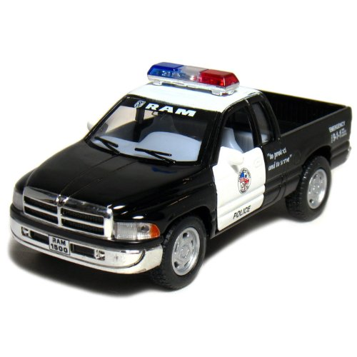 "5"" Dodge Ram Police Pickup Truck 1:44 Scale (Black/White) by Kinsmart"