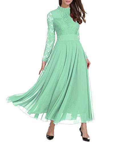 Roiii Women's Formal Floral Lace Chiffon Long Sleeve Ruched Neck Long Dress Evening Cocktail Party Maxi Dress Light Green