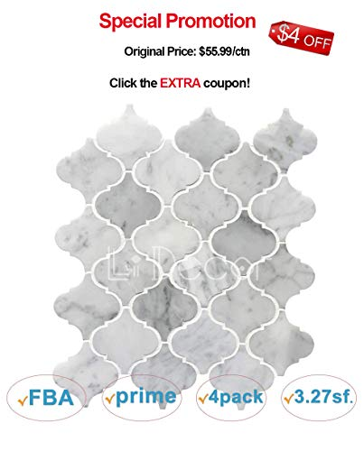 Carrara White Marble Mosaic Tile backsplash Arabesque Tile Carrera Marble Tile Backsplash Wall Floor Tile for Kitchen Bathroom Shower Counter(3.27sf,4Pack Per Case), Polished