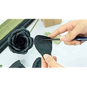 Black Paper Rose Perfect Anniversary Paper Gift Handmade Art Realistic Artificial Roses Unique Gift For Her, Single Long Stem, 01 Flower 4