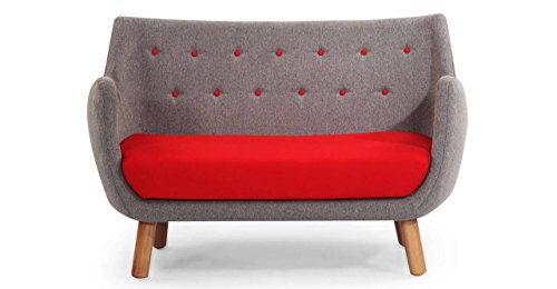 Kardiel 1946 Parlor Mid-Century Modern Sofa, Earl Grey/Red Cashmere Wool (Sofa Parlor)
