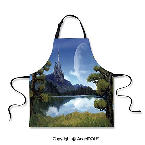 SCOXIXI Printed Kitchen Apron Baking Apron Moon Surreal Scene with Riverside Lake Forest and Medieval Castle on Hill Art Home Cooking Baking Waist Bib.]()