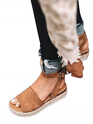 SurBepo Women's Platform Espadrilles Slide Sandals Criss Cross Slide-on Open Toe Faux Leather Summer Flat Sandals(6.5, 3-Camel) ()