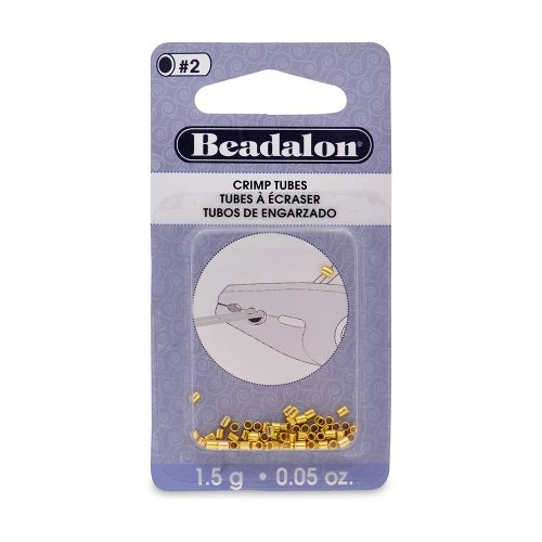 Beadalon Crimp Beads, 2.5 mm  O.D., Gold Color, 1.5 - Crimp Tube Gold Beads Filled