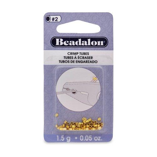 Beadalon Crimp Beads, 2.5 mm  O.D., Gold Color, 1.5 - Beads Gold Filled Crimp Tube