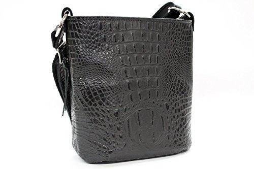 Concealed Carry Purses - CCW Handbags Black Crocodile Leather - Bucket