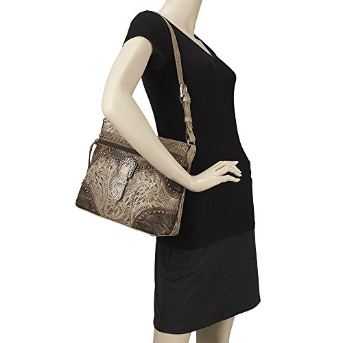 American West Women's Saddle Ridge Zip Top Shoulder Bag Chocolate One Size by American West (Image #5)