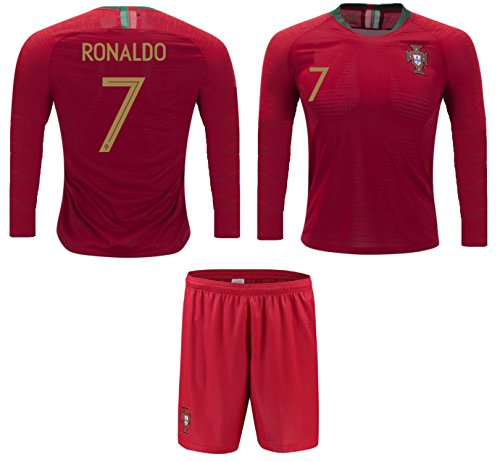 (Portugal Cristiano Ronaldo #7 Soccer Jersey and Shorts Kids Youth Sizes Home Football World Cup Premium Gift (YL 10-13 Years, Home Long Sleeve) )
