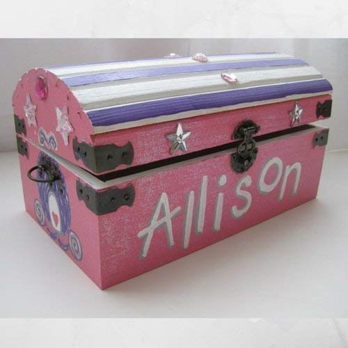 B015VXZ1EA Personalized Painted Wooden Princess Jewel Sparkly Treasure Toy Chest Keepsake Box- 9 inch x 5 inch x 5 inch Medium Sized with Latch and Custom Color Choices 41Wgm8tC2AL